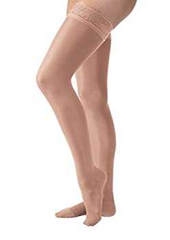 Women's Ultrasheer 30-40 mmHg Petite Thigh High Firm Support Sock with Lace Silicone Top Band Size: Medium, Color: Suntan
