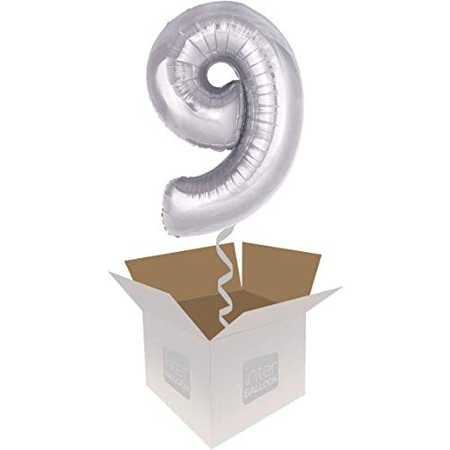 Single Balloon InterBalloon Helium Inflated 34  Number 9 Silver Megaloon Balloon Delivered in a Box with 4 Extra Balloons of your choice
