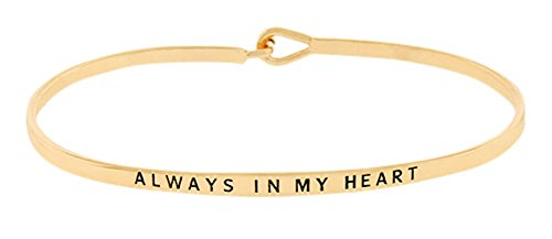 ''Always in My Heart'' Sentimental Quote Thin Brass Band Bangle Hook Mantra Bracelet Sympathy, Remembrance, Condolences, Thinking of You Jewelry Gifts (Gold - Heart Bracelet Hook