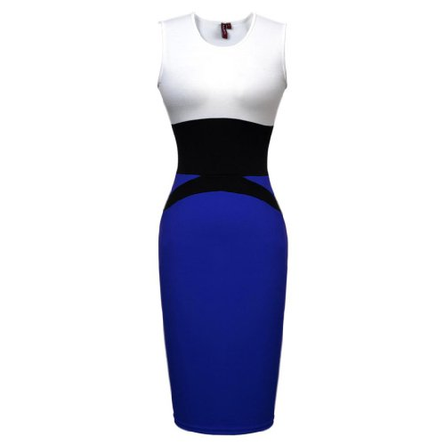 Miusol Celebrity Midi Contrast Bodycon Pencil Evening Dress, Ship From Us (Medium/US Size 8, Blue)