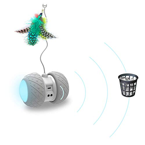 Cat Interactive Toy-Smart Interactive Cat Feather Toys Upgraded USB Charging 360 Degree Self Rotating Automatic LED Light Ball Toy for Pet Entertainment Hunting Exercise-Battery Included 6