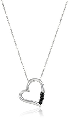 10k White Gold and Three-Stone Black Diamond Heart Pendant Necklace (.1 cttw), 18""