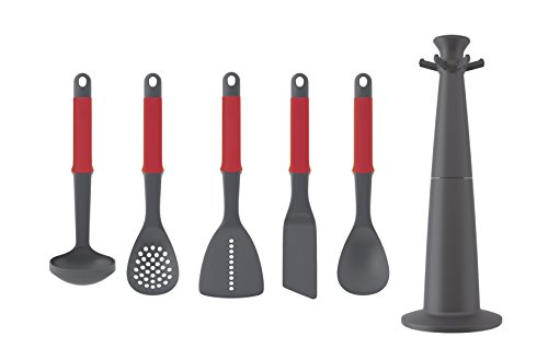 Joseph Joseph 10463 Elevate Carousel Nylon Kitchen Utensil Set with Rotating Storage Stand, 5-Piece, Red
