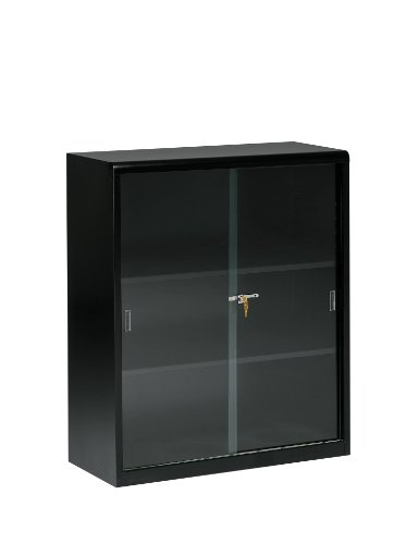 Tennsco 342GL Heavy Gauge Steel Executive Bookcase with Glass Doors and Lock, 36