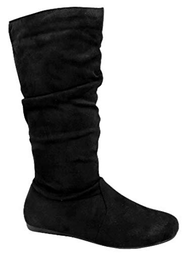 Wells Collection Womens Boots Soft Slouchy Flat to Low Heel Under Knee High, Black-23, 7