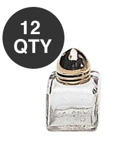 - Mini Salt & Peppper Shakers Shaker, Cube Shape, Polished Gold Top, Glass Body - 1 Dozen