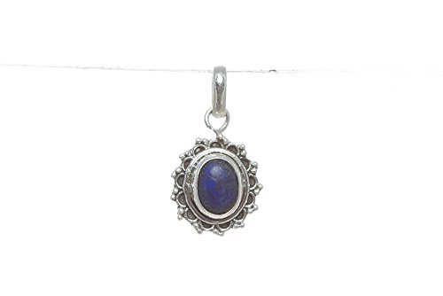 (Lapis Lazuli Pendant 925 Sterling Silver Anniversary Cabochon Gypsy Antique Design Stylish Blue Gemstone Different Healing and Crystal Healing Stone Healing Yoga Meditation Gift Pendant )
