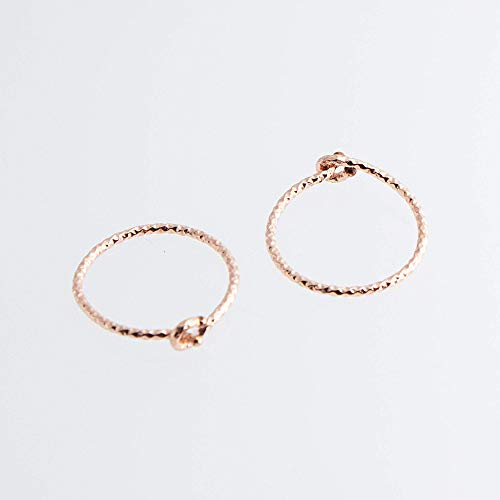 Thin wire Hoop Earrings, Cartilage Rose Gold Filled, Tragus Gold tiny Hoops, Handmade Hoops, ()
