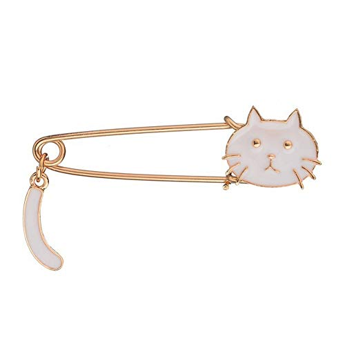 SKZKK Fashionable Enamel Lapel Pin White Cat Broaches and Pins for Women Curved Needle Dress Brooch Pin Valentine's Gift Jewelry Women's Accessories for Women from SKZKK