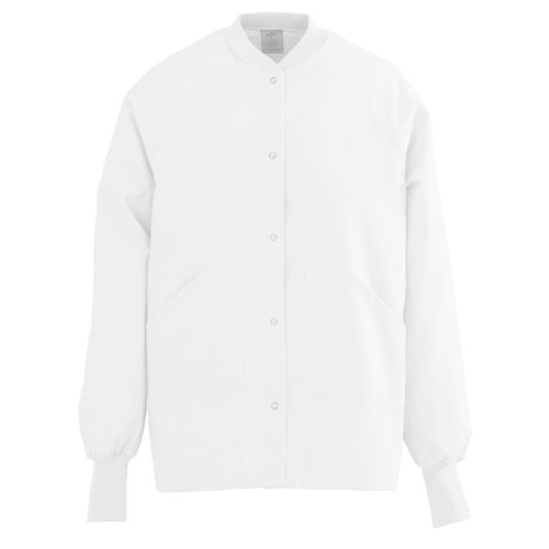 Medline Knit Jacket - 845NTQL - Medline Ladies AngelStat Knit Collar Warm-Up Scrub Jackets,White,White