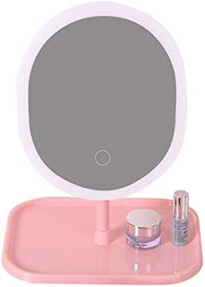 GCX- メイクアップミラーライトドミトリーデスクトップドレッシング学生充電式ミラー ファッション (Color : Oval, Size : Single light)