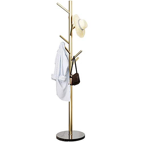 - Metal Coat Rack Stand Golden Satin Steel Finish Stable Marble Base, High-Grade with Hooks Metal Tree Hat & Coat Hanger Floor Free Standing Wall Bedroom Easy Assembly (Golden)