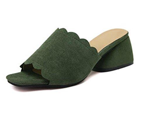 zapatillas de verano de mujeres en bruto con la dama con sandalias y zapatillas de punta abierta zapatos de la cabeza de pescado palabra verde