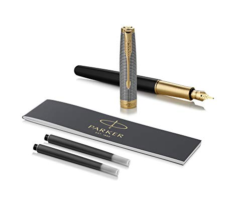 PARKER Sonnet Fountain Pen, Chiselled Silver & Black with Gold Trim, Solid 18k Gold Medium Nib