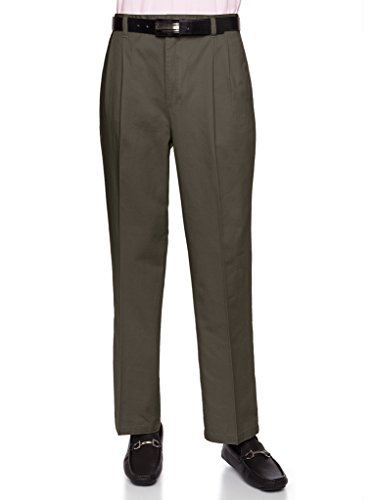 AKA Mens Wrinkle Free Chino Casual Pants - Traditional Fit Slacks Pleated-Front Chino Casual Pants Cotton Twill Olive 36 Medium
