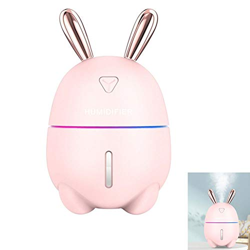 GKCD Mini USB humidifier, 300ml Creative Cute Rabbit Breathing Light ultrasonic Aroma Diffuser USB car air freshener Atomizer Office Home,Pink