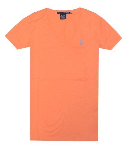 Ralph Lauren Sport Women Lightweight V-Neck T-Shirt (M, Faded orange)