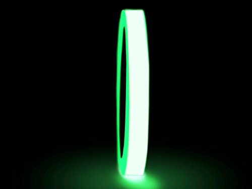 WOD GDT6 Glow in the Dark Tape Safety Grade Photoluminescent, 1/2 inch x 10 yds - For Signs, Emergency Exits, Party or Halloween Customs, Green (Available in Multiple Sizes)