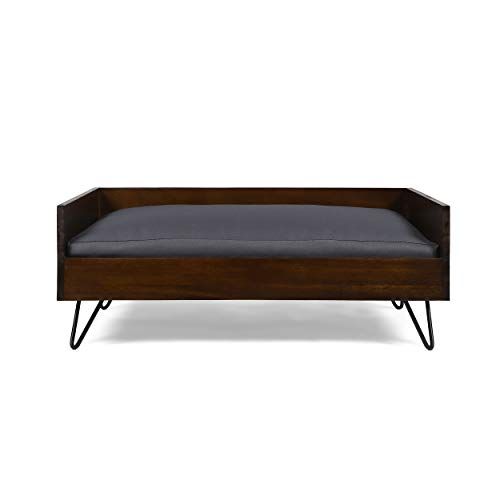 Great Deal Furniture Ophelia Mid Century Modern Ped Bed with Acacia Wood Frame, Dark Oak and Dark Gray