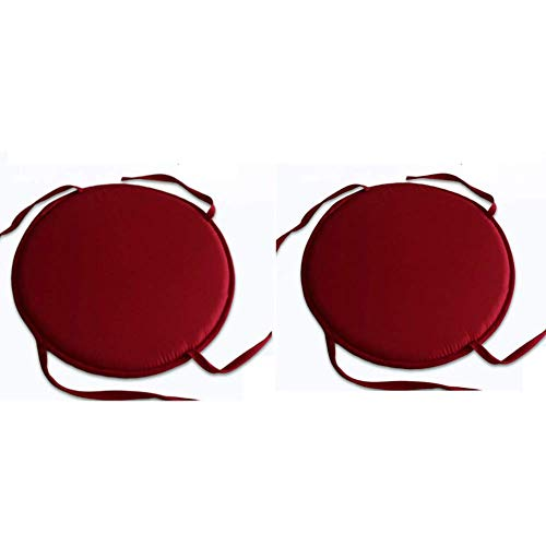 DadaA Chair Pads Round Indoor Seat Cushions with Ties,No-Slip,15 inches,2Pcs(red) (Round Chair Pads)