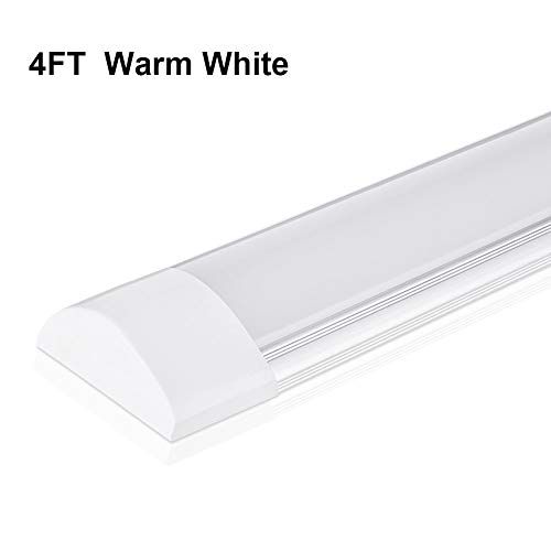 LED Batten Light Tube 4FT, 40W LED Ceiling Light with 4800LM 3200K 130° Illumination for Office Living Room Bathroom Kitchen Garage Warehouse Shop Basement Workshop Cabinet by Ankishi (Warm White) -