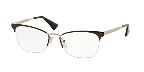 Prada CINEMA' PR65QV Eyeglass Frames DHO1O1-53 - Brown/Pale Gold PR65QV-DHO1O1-53
