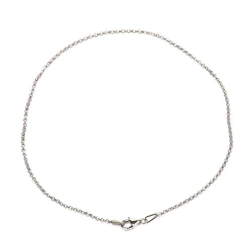 925 Sterling Silver 1.50 mm Round Rolo Bracelet Chain with Pear Shape Clasp-Rhodium Finish