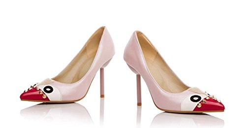 Stylish Pumps Pink Studded Lovely Shoes Cartoon Womens Aisun Dress BwqS55