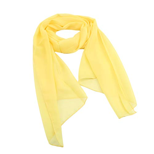 SOURBAN Beach Shawl Solid Color Chiffon Scarf Casual Open Front Cover up Long Scarf,yellow,LW 15050cm by SOURBAN (Image #1)