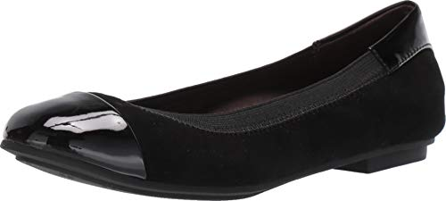 Vionic Women's Spark Tiegan Ballet Flat Shoes - Dress Casual Flats with Concealed Orthotic Arch Support 8 M US Black