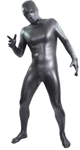 Seeksmile Unisex Alien Eyes Shiny Lycra Fancy Dress Bodysuit (Large, Black) (Shiny Black Bodysuit)