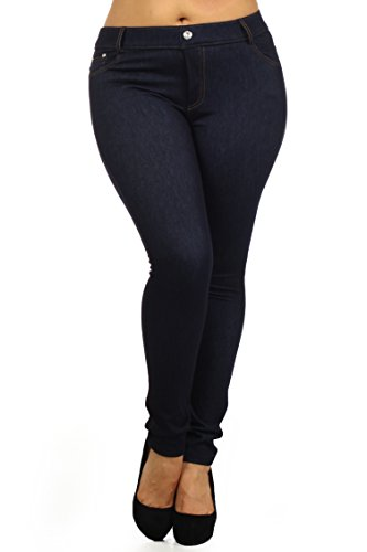 ICONOFLASH Women's Mid Rise Fleece Lined Cold Weather Jeggings, (Navy Plus Size, L/XL)