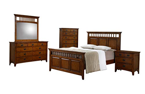 Sunset Trading SS-TR900-Q-BED-SET Tremont Queen Bedroom Set, Warm Chestnut with Satin Gloss Finish