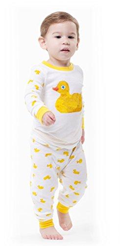 Intimo Kids' Duck Infant Cotton Pajama Set, White, 2T (Childrens Pigeon Pajamas)