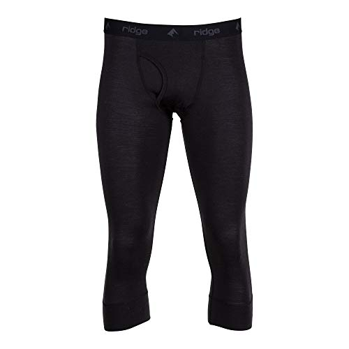 Men's Aspect Midweight Merino Wool Bottom - 3/4 Length (Black, Large)