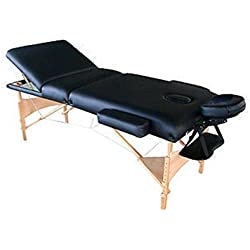 """MCombo XL04 Exacme Extra Long 4"""" Three Section Pu Portable Massage Table/Bed with Carry Case, Black"""