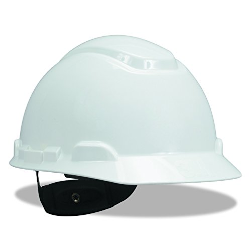 3M Hard Hat, White 4-Point Ratchet Suspension H-701R (Pack of 1) - Hard Hat Helmet