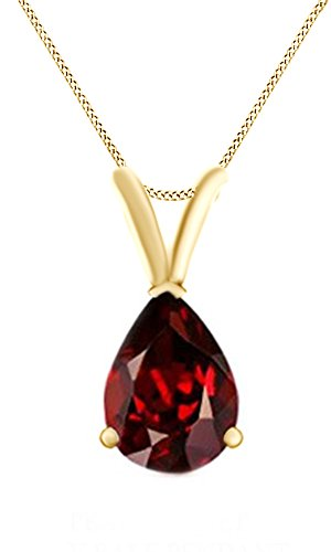 2.5 Ct Pear Cut January Birthstone Garnet Pendant Necklcace 14k Yellow Gold Over Sterling Silver