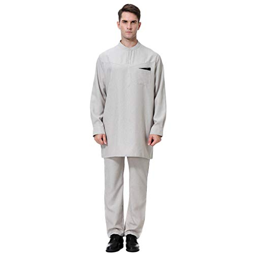 2 pc Top Pants for Men's Arabian Robe Long Sleeve Top Pants Set for Islamic Muslim Dubai Robe ()
