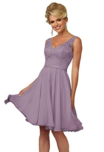 Women's V-Neck A-line Chiffon Bridesmaid Dress Short Formal Evening Gown Lace Bodice Size 8 (Length A-line Dress Gown)
