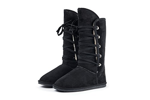 Amelia Women Faux Fur Lined Tall Winter Snow Boots (8, Black-A)