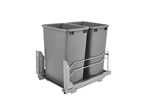 - Rev-A-Shelf - 53WC-1835SCDM-217 - Double 35 Qt. Pull-Out Silver Waste Container with Soft-Close Slides