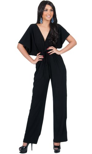 KOH KOH Plus Size Women Short Kimono Sleeve V-neck Casual Sexy Wide Leg Long Pants One Piece Jumpsuit Jumpsuits Pant Suit Suits Romper Rompers Playsuit, Black 2X 18-20 (2) by KOH KOH