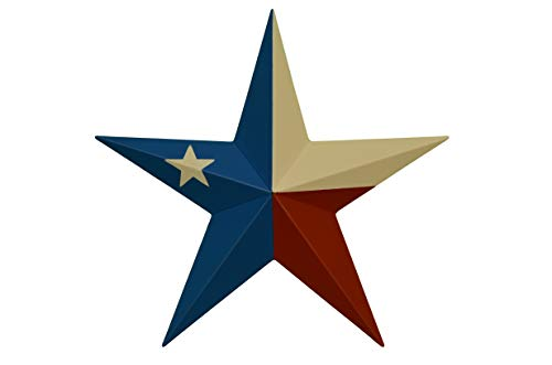 AMISH WARES 53 Inch Heavy Duty Metal Barn Star Painted Solid Texas Flag. For Sale