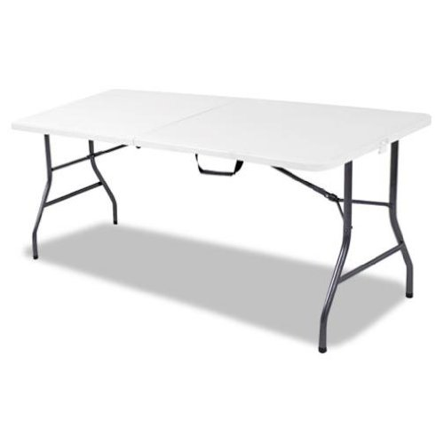 Cosco Products Centerfold Folding Table, 6-Feet, White Specked Pewter