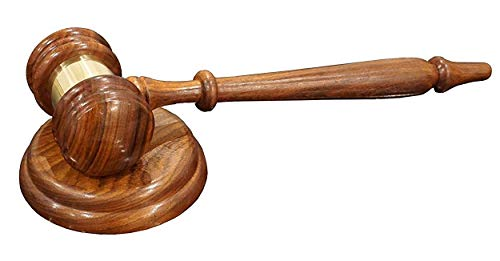 Justice Gavels Premium Wood Gavel and Sound Block for Judge - Wooden Hammer Set with Brass Accent for Auction and Courtroom Judges - Handcrafted Table Accent, Home Decor and Office -