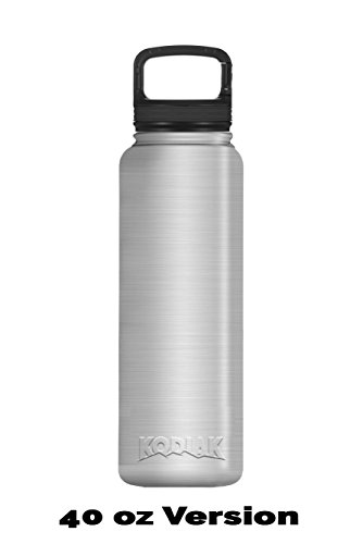 Kodiak Coolers Canteen Vacuum Insulated Screw Top - Stainless Steel Double Wall - Thermal Coffee Travel Cup Mug Thermos – Compare to Hydroflask - Hold Ice Over 24 Hour (Stainless Steel, 40 oz)