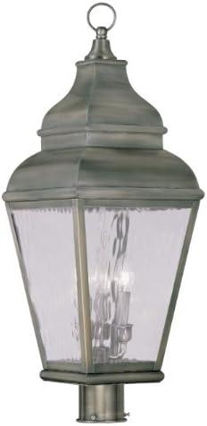 Livex Lighting 2606-29 Exeter 3-Light Outdoor Post Head, Vintage Pewter