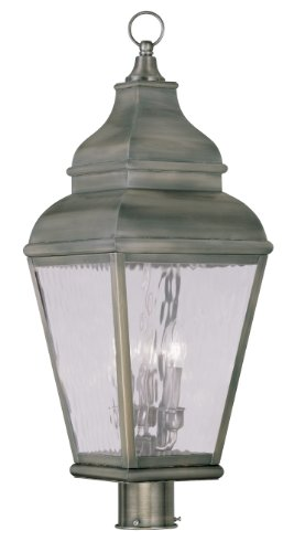 Cheap Livex Lighting 2606-29 Exeter 3-Light Outdoor Post Head, Vintage Pewter