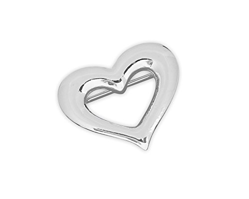 Silver Open Heart Shaped Pins (Wholesale Pack - 15 (Silver Heart Pin)